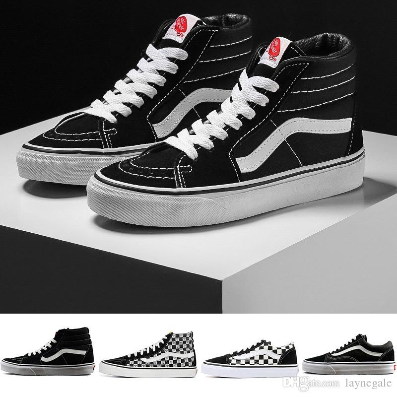 075673a0a81 Compre Original Vans Old Skool Sk8 Hi Mens Para Mujer Zapatillas De Lona  Negro Blanco Rojo YACHT CLUB MARSHMALLOW Moda Skate Zapatos Casuales Tamaño  36 44 A ...