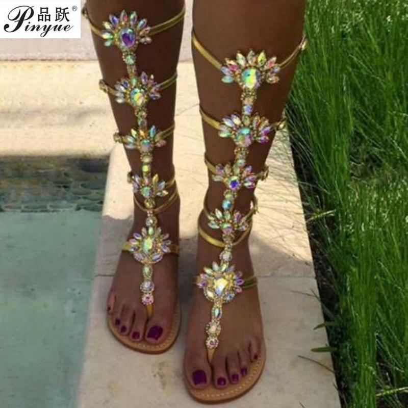 2018 Summer Flats Sandal Gladiator Gold Rhinestone Knee High Buckle Strap  Woman Boots Bohemia Style Crystal Beach Shoes Pink Shoes Salt Water Sandals  From ...