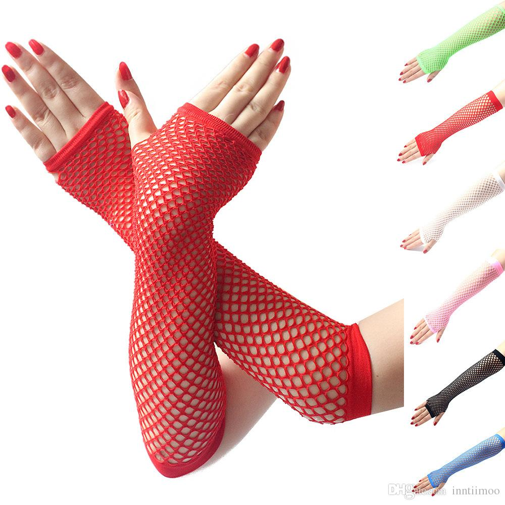 Women Fingerless Nylon Stretchy Fashion Fishnet Opera Elbow Length Gloves Sexy Knit Mittens for Sexy Costume Accessory