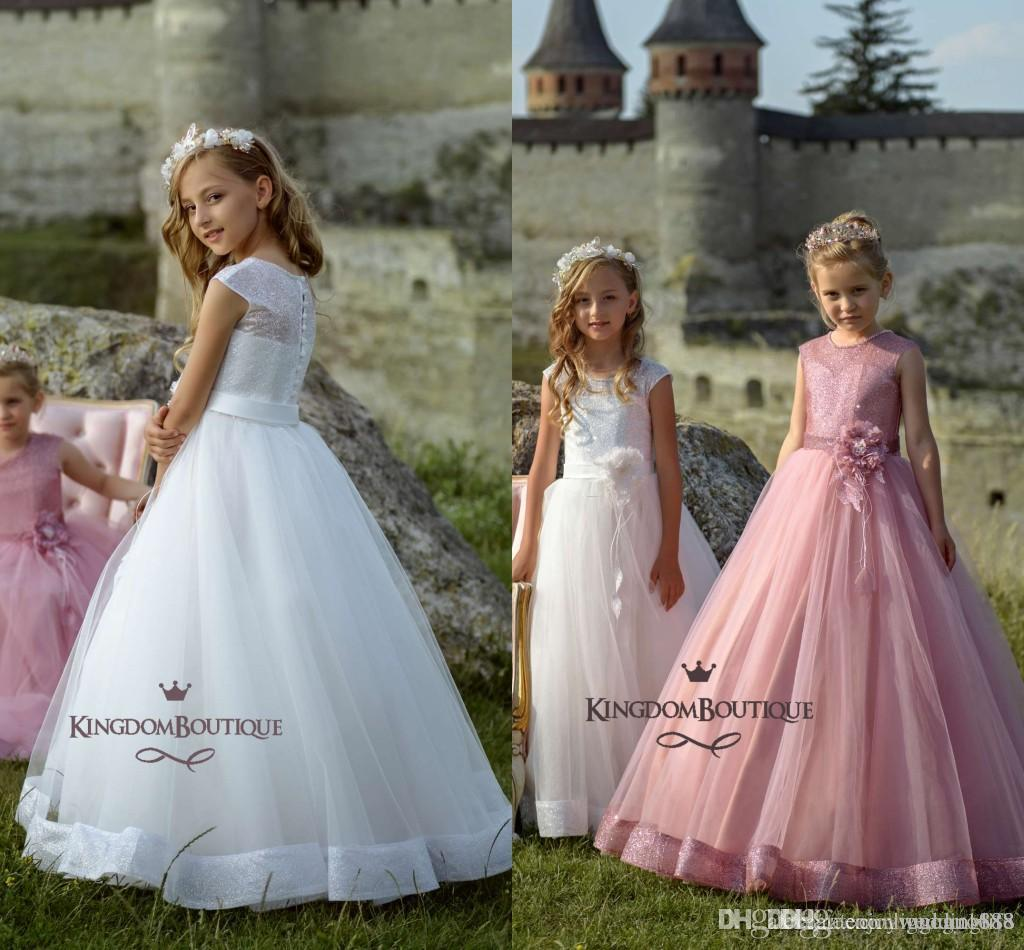 47b39d194 2019 New Lovely Peach Flower Girls Dresses Lace Appliques Bow ...