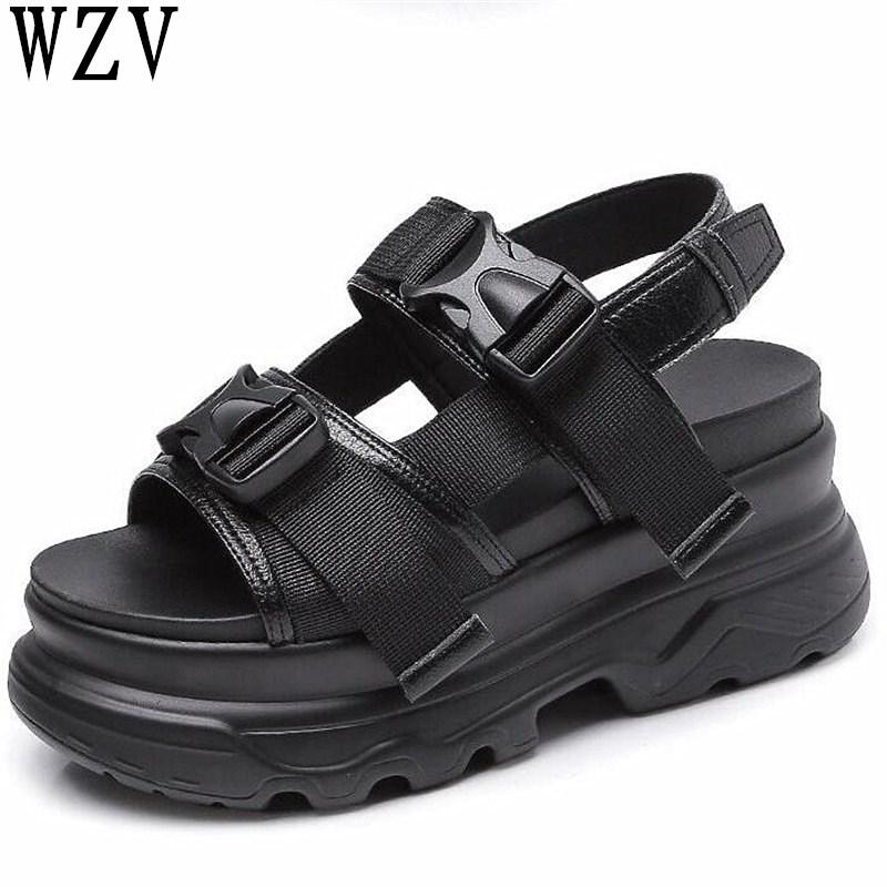 29ea8c1207ca Platform Women S Sandals 2019 Fashion Summer Leather Buckle Women Thick  Soled Beach Sandals Casual Woman Shoes F668 Red Shoes Wedge Sandals From  Aiyin