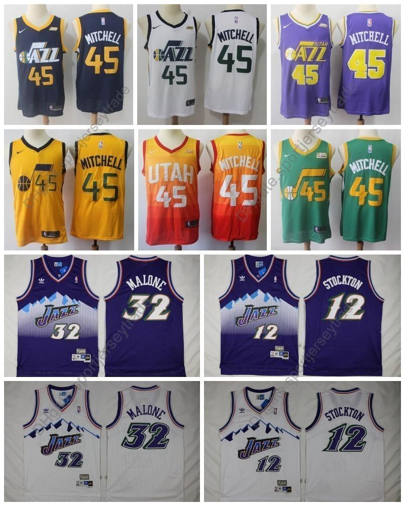 official photos 70298 3a2ff Top Quality Vintage Mens #12 Utah John Stockton Karl Malone 32 Basketball  Jersey Donovan Mitchell John Stockton Karl Malone Jazzes Stitched