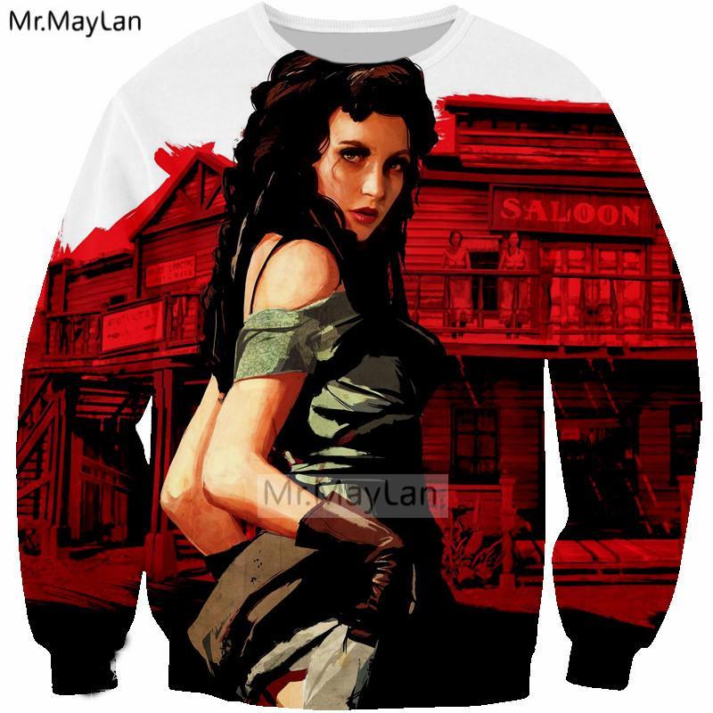 a37a95b166f8 2019 New Hot Game Red Dead Redemption 2 3D Print Sexy Girl Sweatshirts  Men Women Hip Hop Streetwear Hoodies Girls Outwear Red Clothes From  Manxinxin