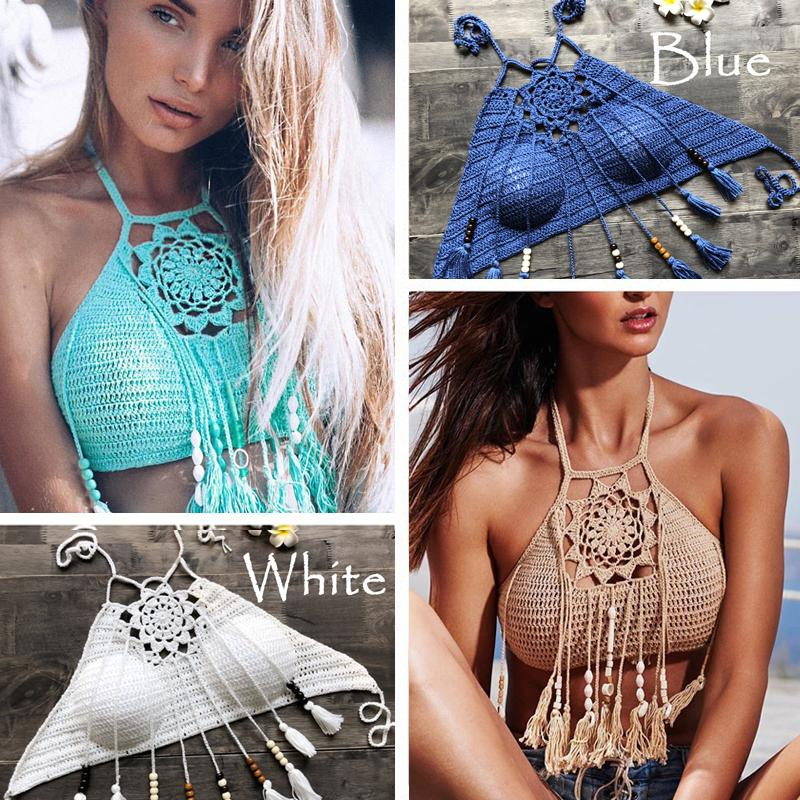 dc7fb6fadd6 2019 2019 Sexy Women Tassel Bikini Top Boho Beach Swimwear Crochet Fringe  Bikini Bra Halter Camisoles Tank Swimsuit Hot Sale From Piterr, $42.07 |  DHgate.