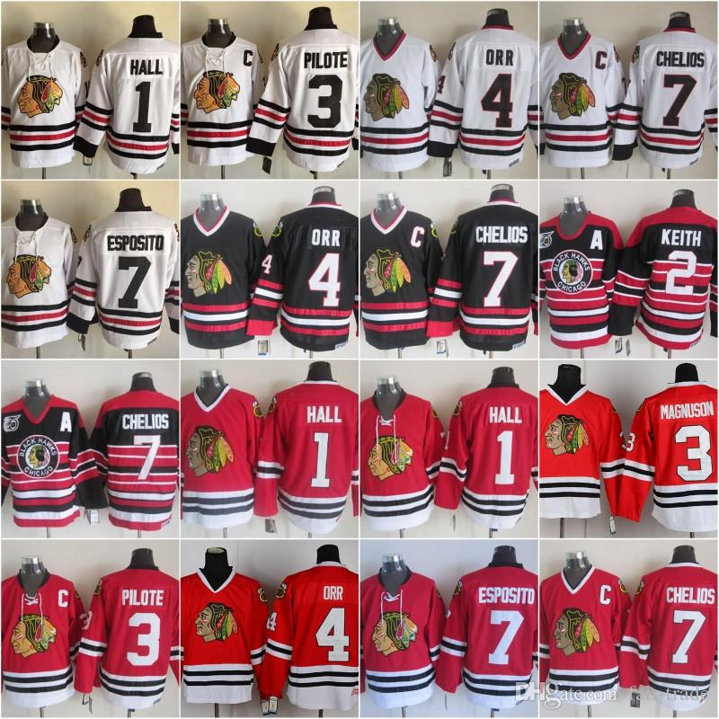 sports shoes 719ba db29b Men 7 Brent Seabrook Jersey Hockey 2 Duncan Keith Chicago Blackhawks  Vintage CCM 3 Pierre Pilote 1 Glenn Hall 4 Bobby Orr Red White Black
