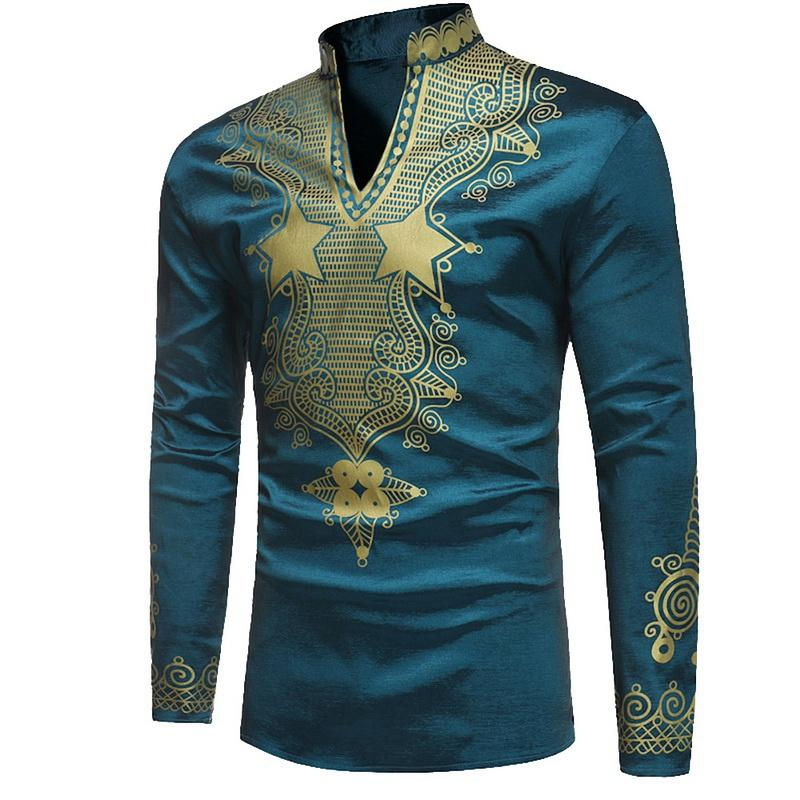 4e27160aa82c 2019 Laamei Men African Dashiki Shirt Men Shirt Fashion Ethnic Printed Slim  Fit Long Sleeve Shirts Male Camisas 2019 From Cacy, $26.31   DHgate.Com
