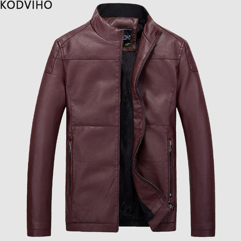 28557494175c0 2019 Leather Jacket Men Streetwear Biker Motorcycle Red Black PU Faux  Leather Jackets Mens Winter Plush Fur Coat Jaqueta De Couro From Matilian