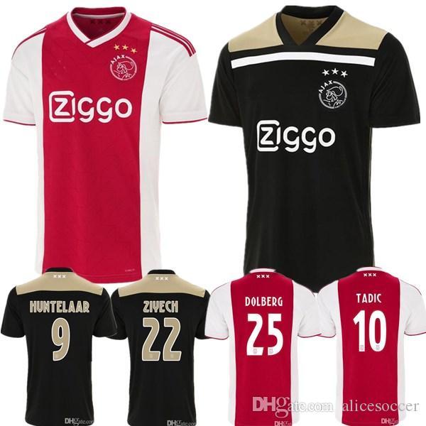 4953cfe2f 2019    Ajax Home Red White Soccer Jersey 2019 Ajax Away Soccer Shirt 2019   10 TADIC 21 DE JONG  25 DOLBERG 22 ZIYEC Football Uniform Size S XXL From  ...