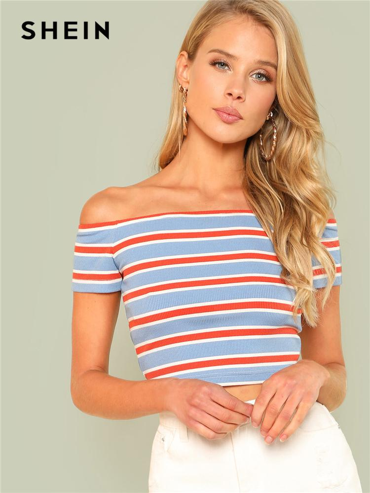 8b50ff399107 Shein Rib Knit Striped Bardot Tee Women Off The Shoulder Short Sleeve Slim  Crop T Shirt 2018 Summer Female Sexy Party Top Tee Y190123 Now T Shirts  Deal With ...