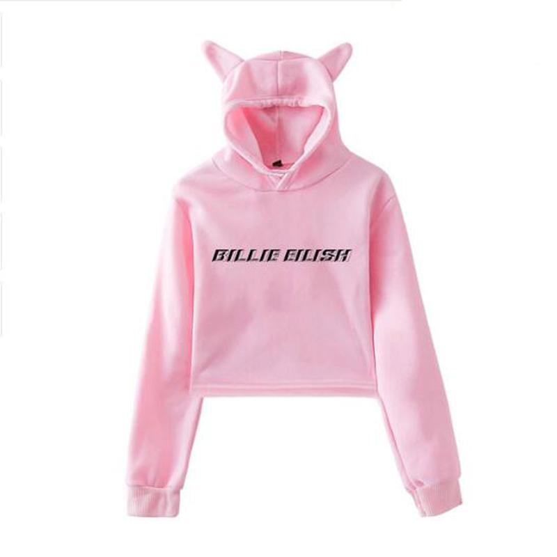 d19080b7c 2019 Moletom Billie Eilish Women Hoodie Harajuku Long Sleeve Loose Crop Top Sweatshirt  Female Jumper Hooded Pullover Coat Streetwear From Jingju, ...