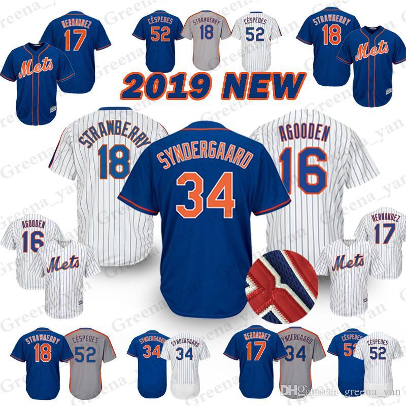 competitive price 89711 75824 New York Mets Baseball Jersey 34 Noah 52 Yoenis Cespedes 18 Darryl  Strawberry 17 Keith Hernandez 16 Dwight Gooden Jerseys t shirt