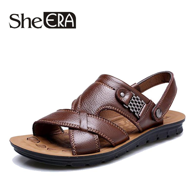 45e082f2a Brand Men Leather Men Sandals Black Brown Sewing Beach Shoes Cool Summer  Shoes Breathable Mens Leather Sandals Size 38 48 Shoes For Women Nude Wedges  From ...