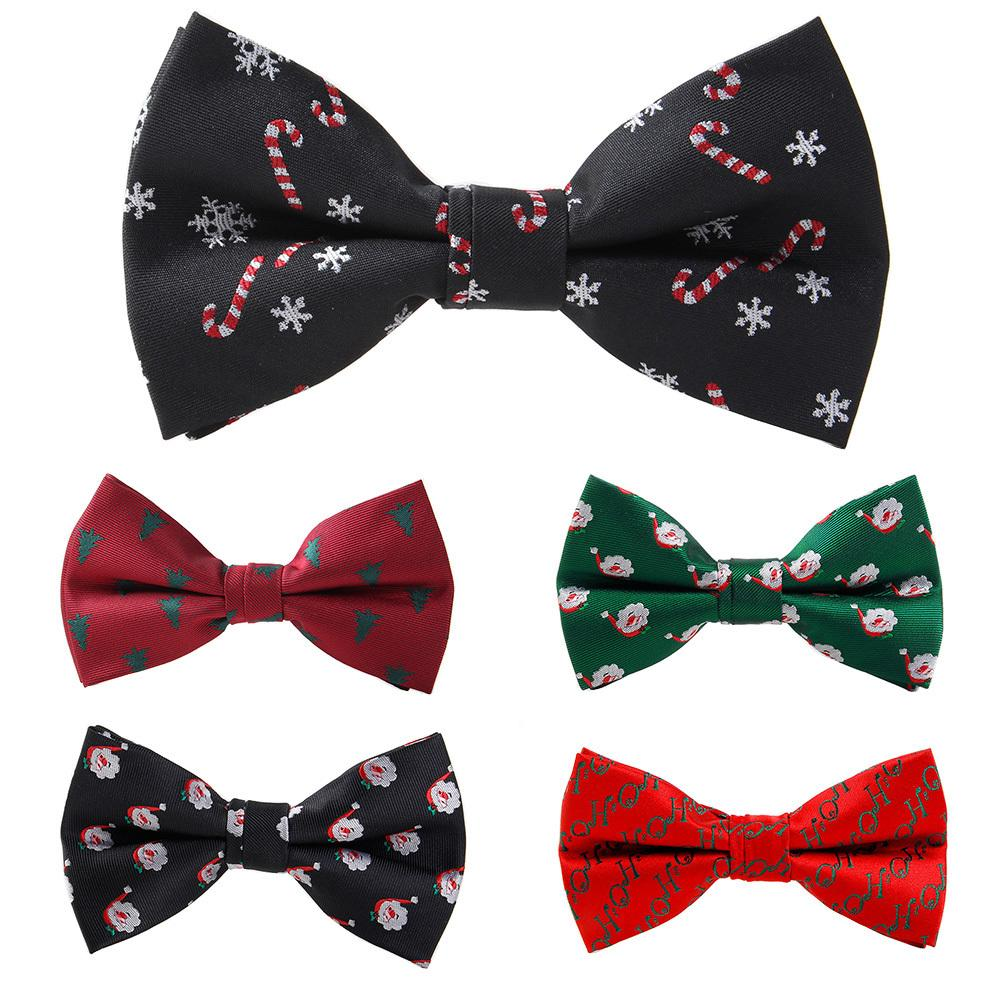 f218bb3f601b RBOCOTT Christmas Bow Tie Men's Fashion Black Bowtie Red For Festival Green  Tree Santa Claus Snowflake Bow Ties For Accessories C19011001