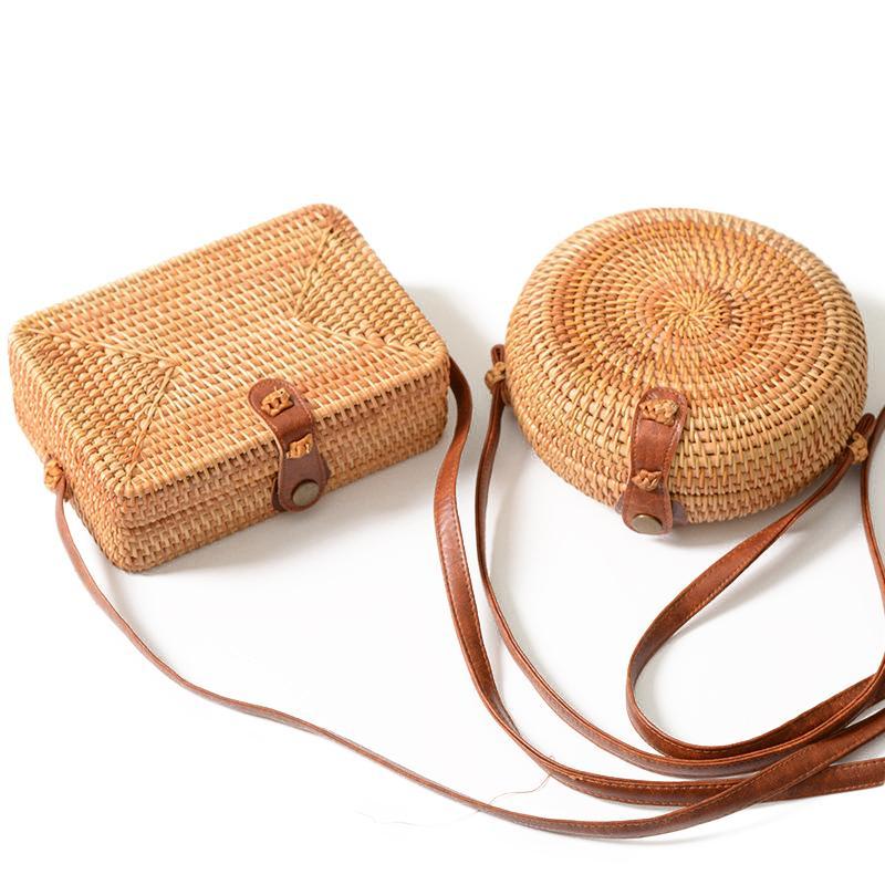 8c408648b3 ... Quality Handmade Rattan Woven Round Handbag Vintage Retro Messenger Bag  Retro Straw Crossbody Shoulder Bag Female Summer Beach Bag Purses Wholesale  Mens ...