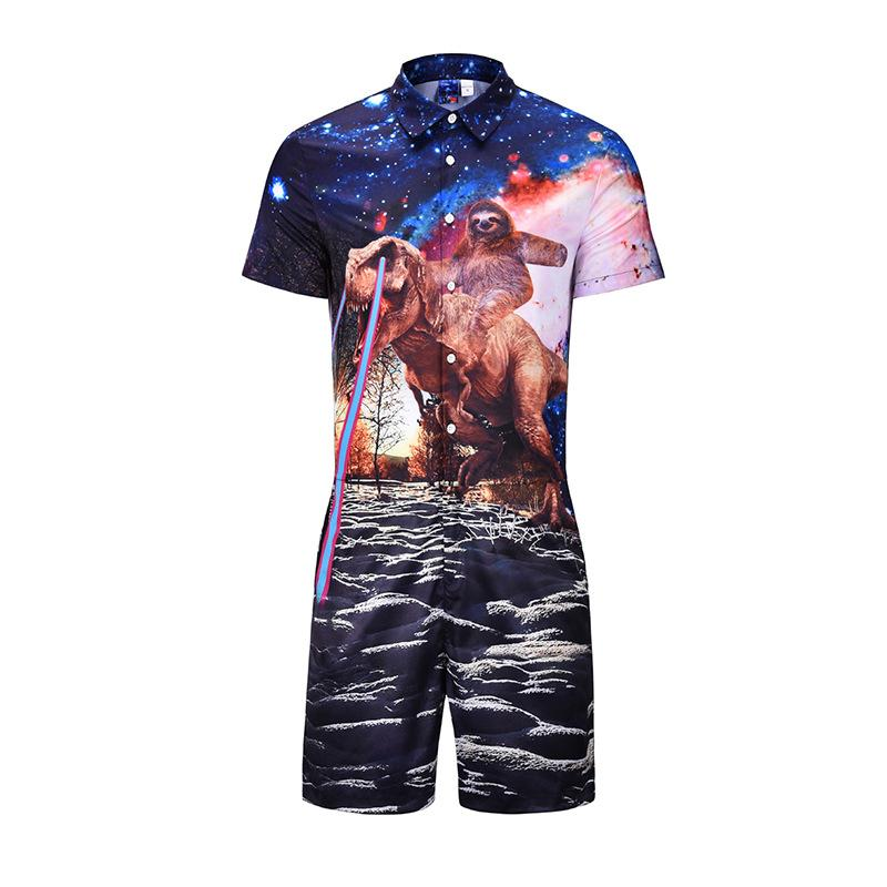9c6d101d254c 2019 2018 New Design Men Romper Fashion 3d Funny Cat Anime Print Short  Sleeve Jumpsuit Male Casual Beach Party One Piece Rompers From  Youfanweistore