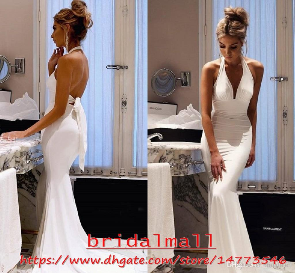 Sexy 2019 White Beach Boho Wedding Dresses Halter Neck Garden Bridal Gowns Long Ivory Soft Satin Wedding Gowns Backless Robe De Mariee