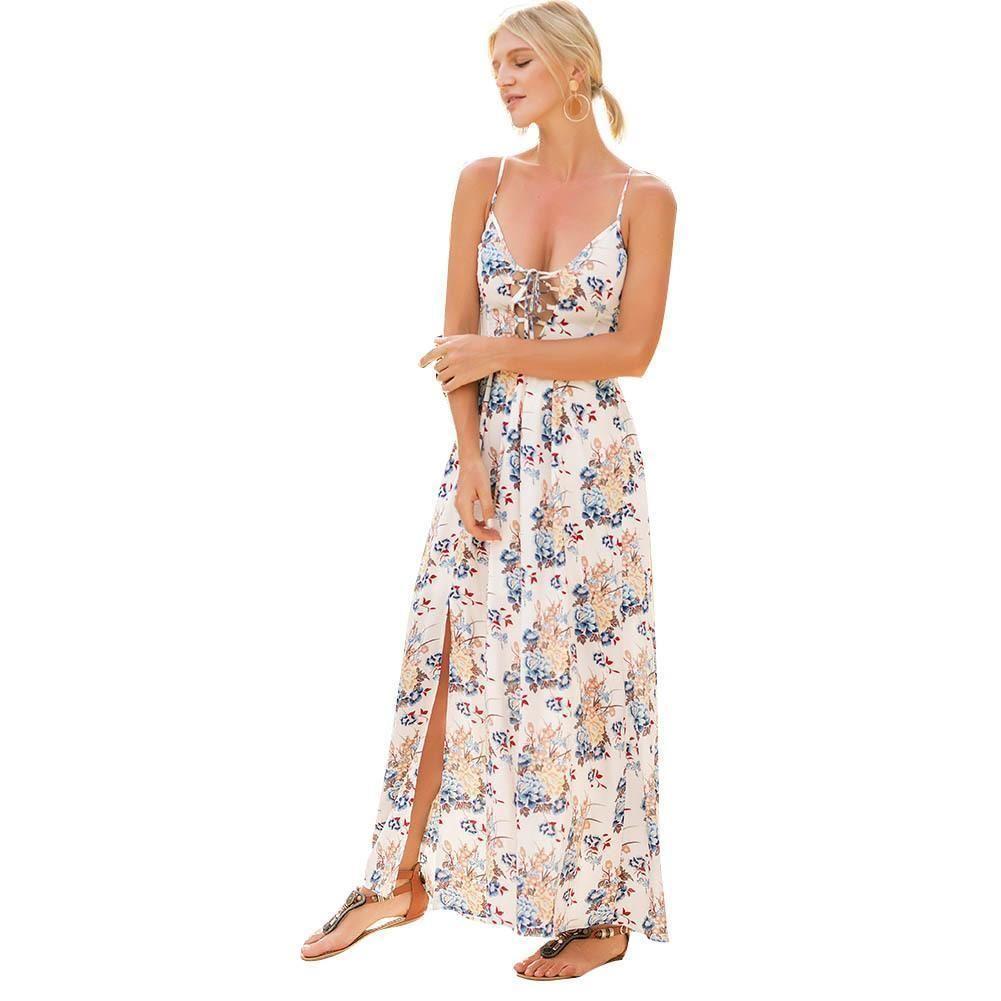 ee08c2999 Women Boho Tunic Dress Sexy Floral Print Spaghetti Strap Summer Dress Criss  Cross Lacing Up Backless Beach Loose Dress White Black Women In Dresses  Long ...