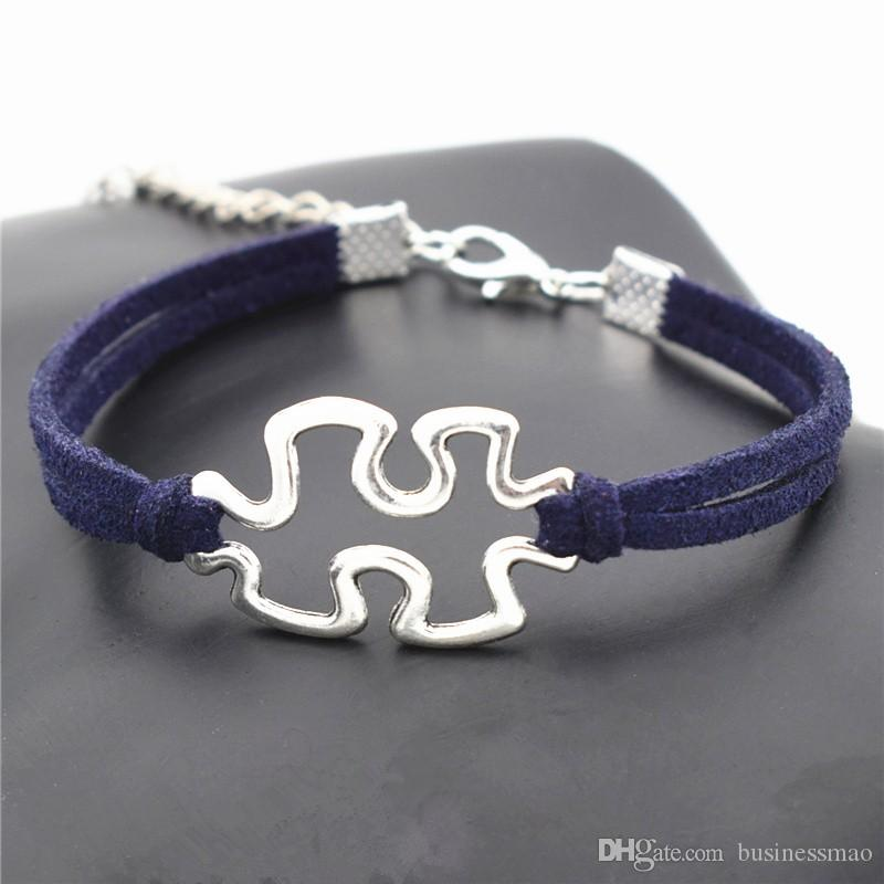 Silver Exquisite Luxury Infinity Love Puzzle Problem Pendant Women Men Bracelet Temperament Navy Leather Suede Rope Charm Nice Jewelry Gifts