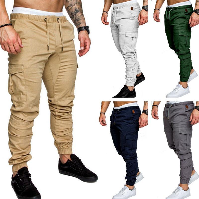 3fe9d4e81 2019 Men Elastic Waist Joggers Pants Long Trousers Army Cargo Pants Men  Casual Solid Color M 4XL From Merrylily, $24.32 | DHgate.Com