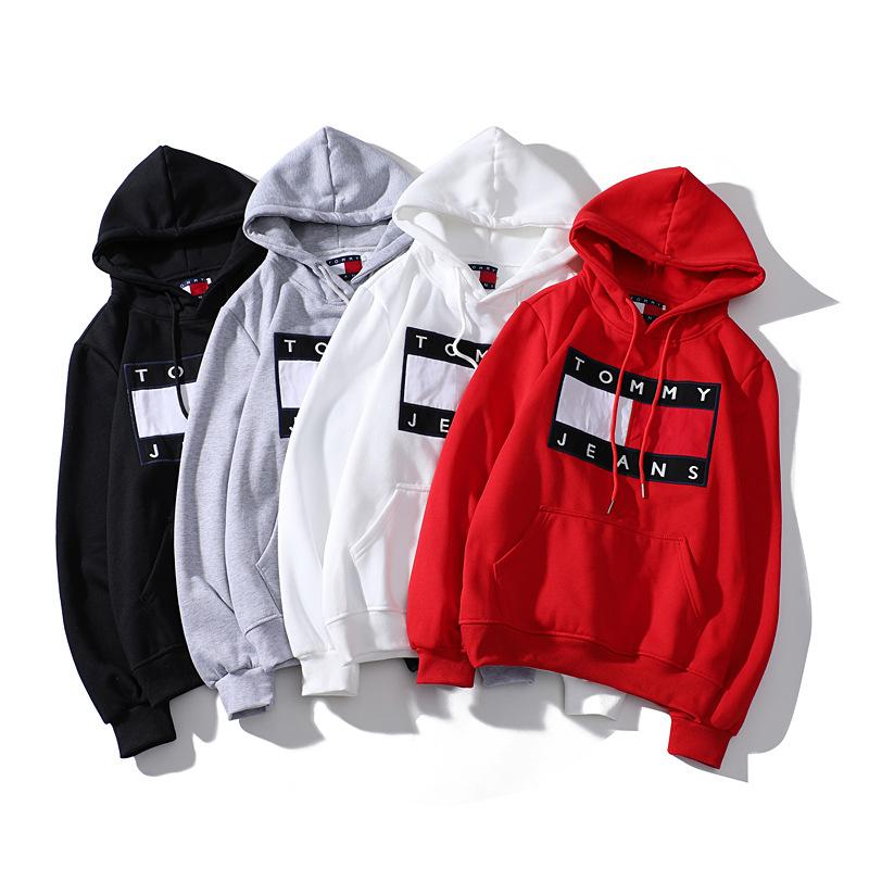 Hoodie Male and female Plus velvet Patch embroidery Hoodie letter splice Hip hop Pullover sweater new style