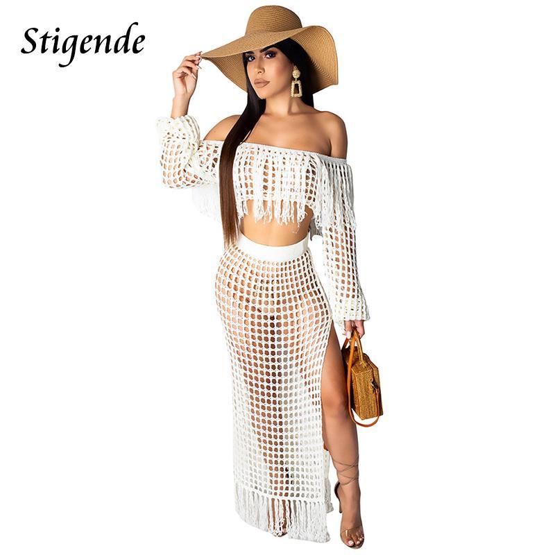2019 Stigende Summer Crochet Dress Beach Wear Women Crop Top And