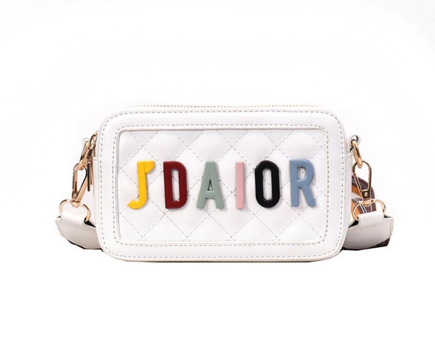 New Trendy Wide Shoulder Belt Damen Tasche Single Shoulder Slant Tasche Fashion Letter Square Bag 2019