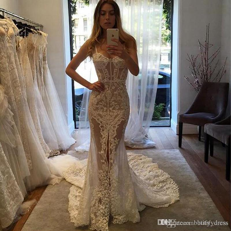 2019 Luxury Front Split Full Lace Mermaid Wedding Dresses Spaghetti Long Bridal Gowns vestidos de noche