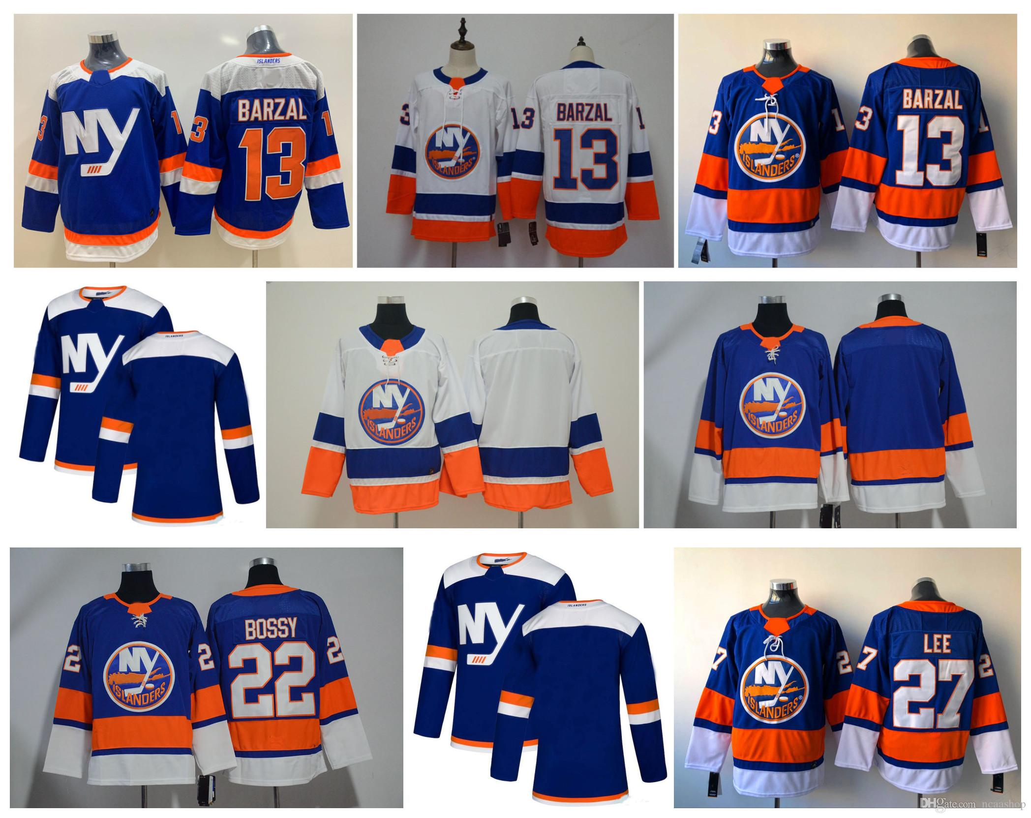 cheap for discount f3366 c1c0d NHL New York Islanders Jersey 13 Mathew Barzal 2019 Third 3rd Alternate 27  Anders Lee 22 Mike Bossy Hockey Jerseys Blue White High Quanlity