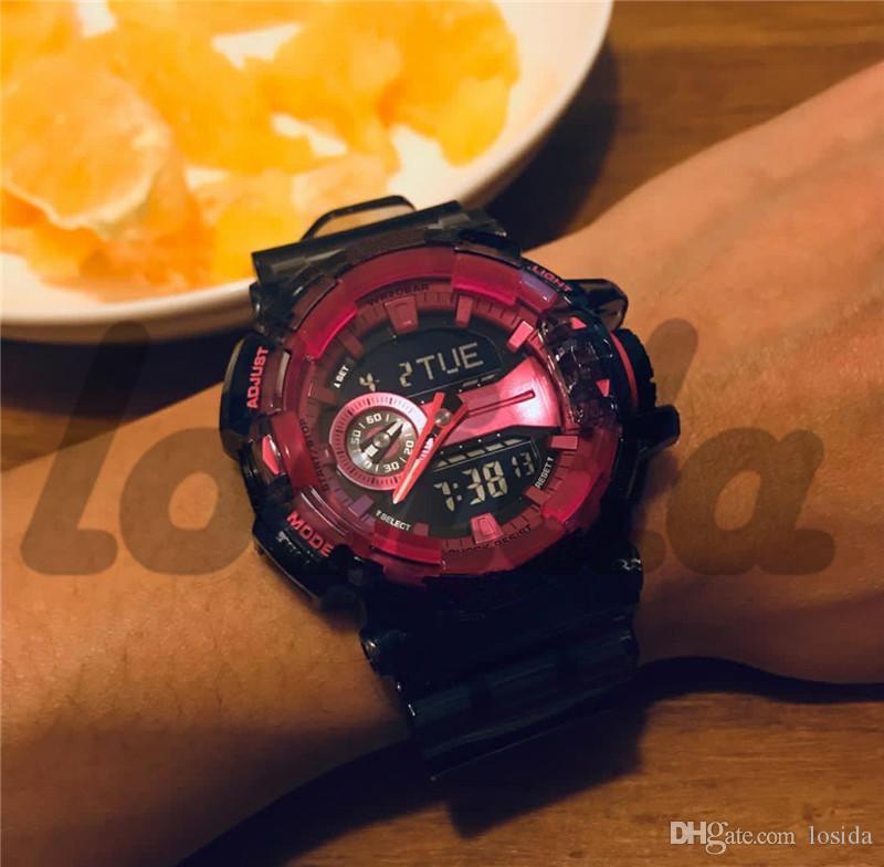 Reloj de choque Nuevo Llega Ga400 Correa transparente con todos los indicadores Trabajo para hombres Relojes deportivos Ejército militar Relojes de
