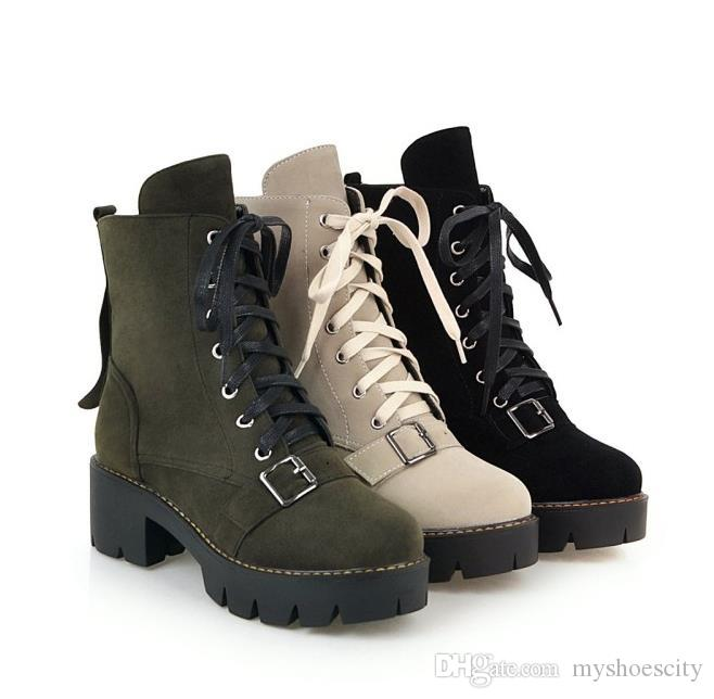 Big small size 34 to 40 41 42 43 Fashion Luxury Martin Boots Chunky Heels Beige Black Army Green