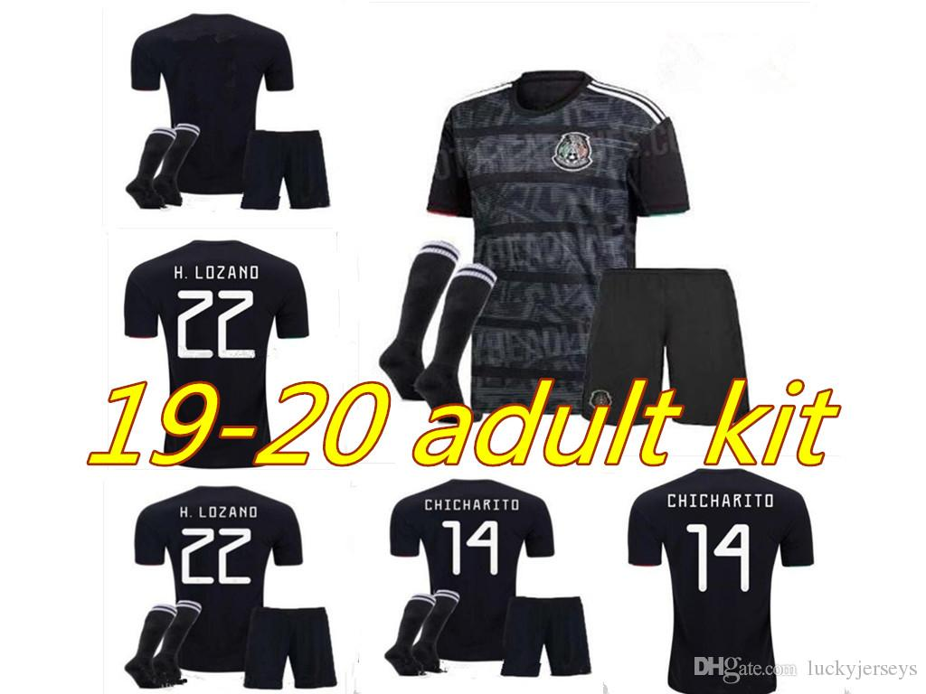 best loved a0de0 f0126 2019 Copa America Mexico away Adult kit Soccer Jersey 19 20 Mexico  CHICHARITO H.LOZANO Black Soccer Shirt Shorts socks