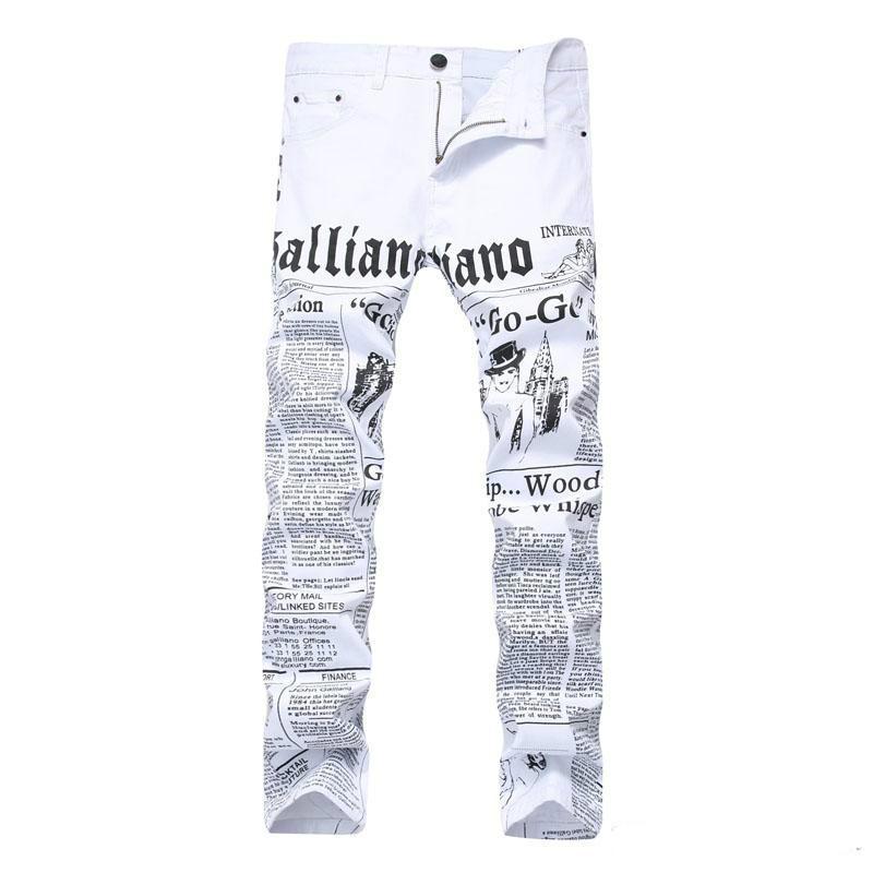 Compre 2019 Carta De Los Hombres Impresos Pantalones Vaqueros Blancos  Adolescente Estiramiento Elástico Pantalones De Hip Hop Para Hombre Denim  Slim Fit ... 43f97272afe5