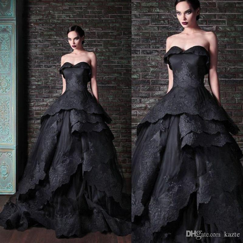 Gothic Black Wedding Dresses Vintage Sweetheart Ruffles Lace Tulle Ball Gown Sweep Train Tie up Back Bridal Gowns Custom
