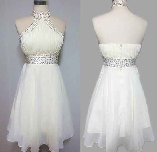 b43c52edbd5 Halter Ivory Chiffon Short Homecoming Dress With Crystals Knee Length Low  Back Hoco Party Dresss Short Fitted Homecoming Dresses Short Homecoming  Dresses ...