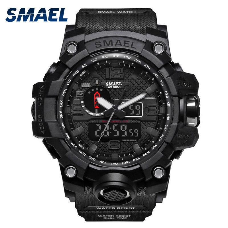 Smael Watches Men Sport Man Big Clock Military Luxury Army Relogio 1545 Masculino Alarm Led Digital Watch Waterproof C19041704