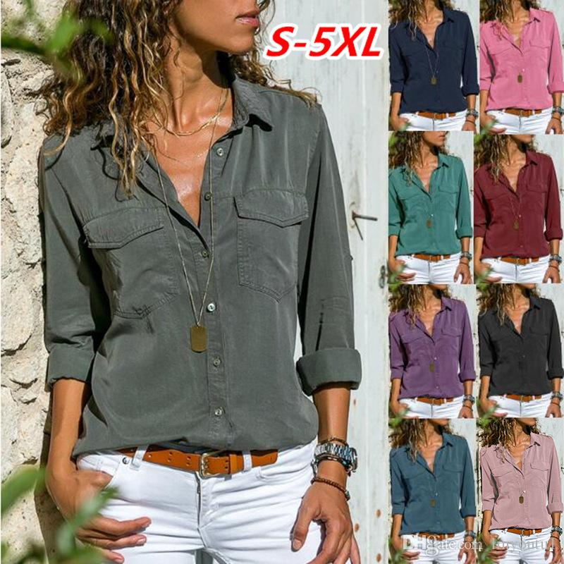 b3d2e96031605d 2019 Women Blouses Button 5xl Solid Color 2019 New Long Sleeve Shirt Female  Chiffon Blouse Women'S Slim Clothing Blusas Feminina From Linyoutu1, ...