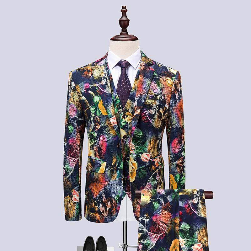 Compre 3 UNID Traje De Los Hombres A Estrenar Slim Fit Casual Para Hombre  Trajes De Vestir Florales Club Nocturno   Fiesta   Baile   Novio   Boda  Esmoquin ... dce168e66cf