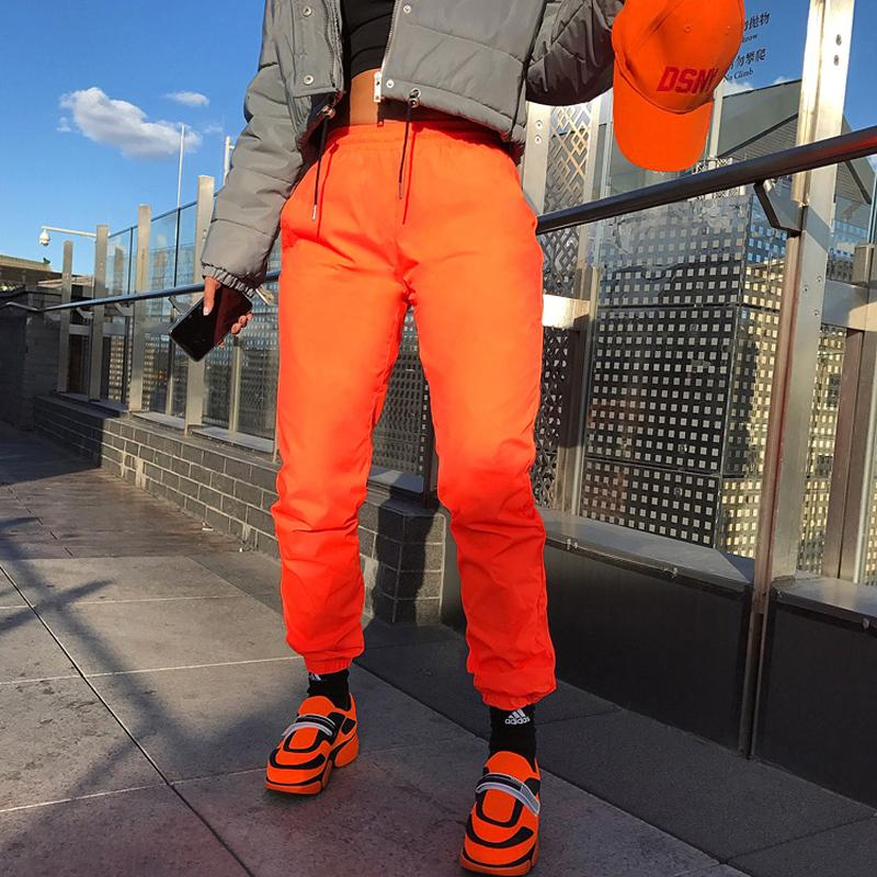 7e5a85c1ff 2019 New Fluorescent Reflective Solid Pants With Pockets Women Fashion  Harem Pants High Waist Ankle Lengh Trousers Female From Benedica, $42.26    DHgate.Com