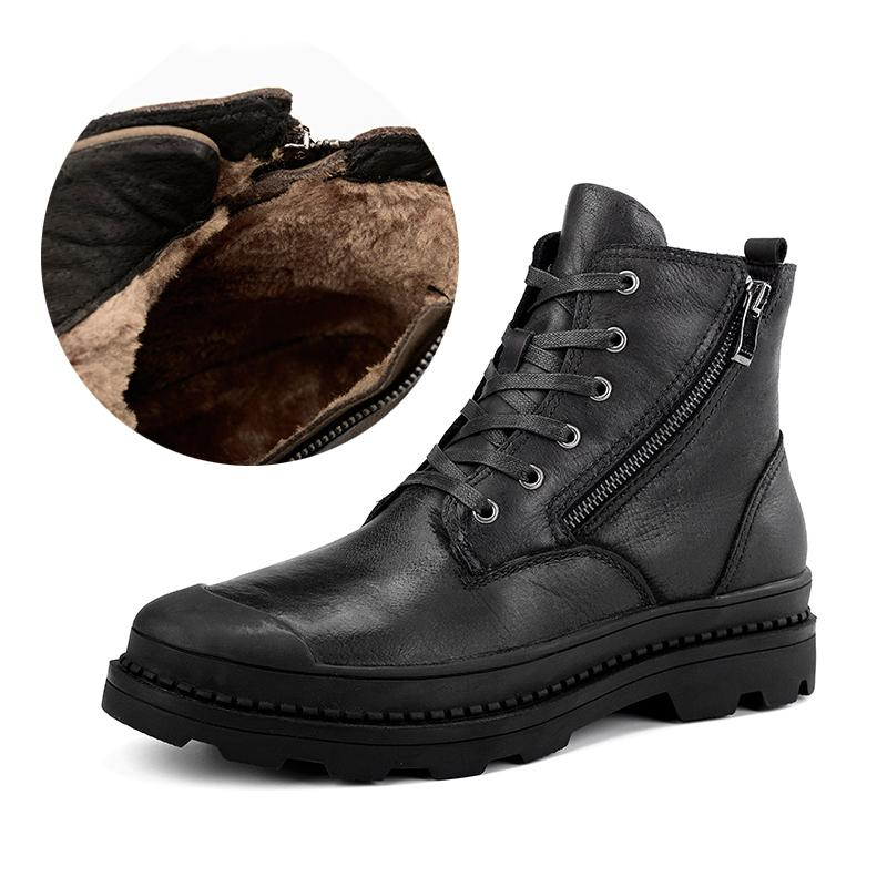 2c68503e3147 Classic Leather Men Winter Boots With Fur Keep Warm Fashion Unisex Snow  Boots High Quality Vintage Style Winter Men Boots Shoes Mens Boots Thigh  High Boots ...