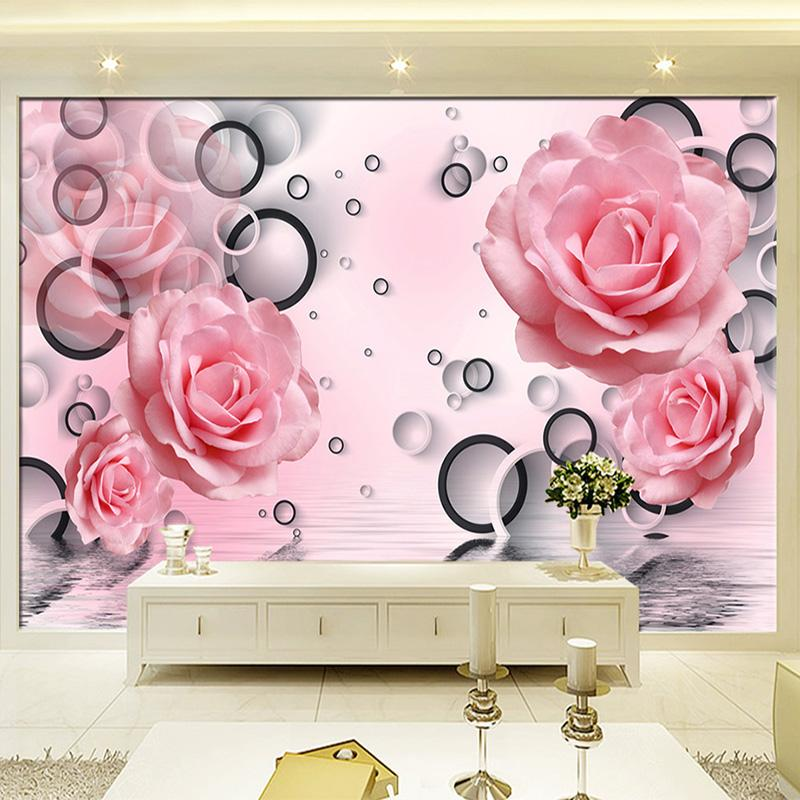 modern simple pink rose circle photo wallpaper living room bedroom backdrop  wall home decor 3d wall mural papel de parede floral