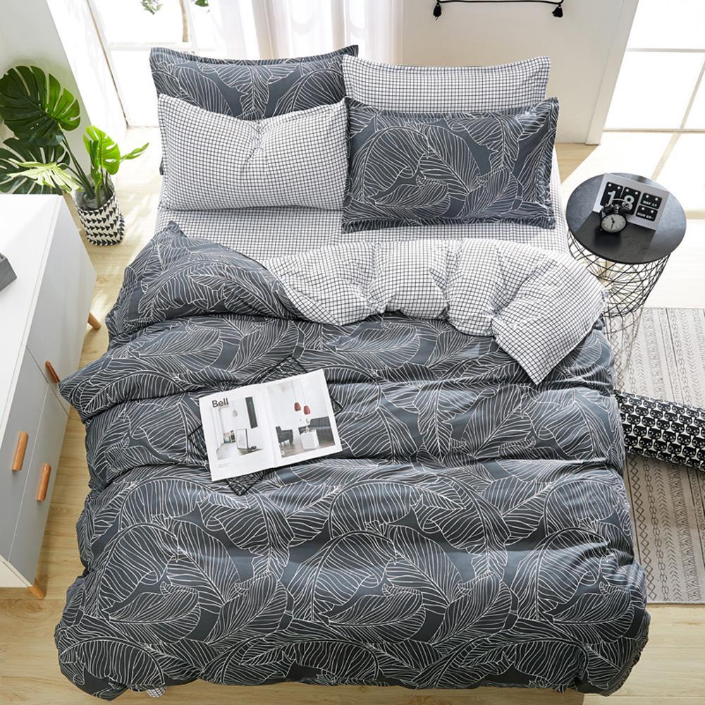 Papamima Mode Bett Linie Bettwäsche Sets Grau Blätter Schwarz Und Weiß Gitterbett Blatt Kissenbezug Bettbezug Sets Bettwäsche Set