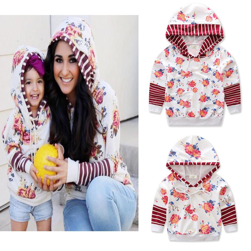 Rose Print Jacket Mother And Daughter Outerwear Autumn Striped Shirts Hoodies Long Sleeve Parent-Child Coat Family Jackets GGA2596