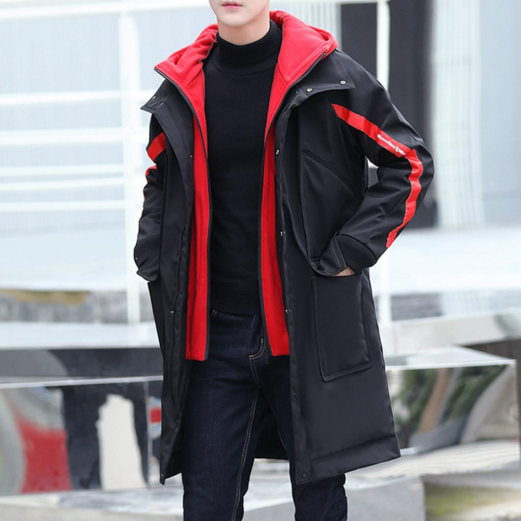 5bcff6e97 2018 Fashion Men's Winter Long Coat Medium Length Hooded Zipper Male Parka  Coat Thickened Cotton Padded Men