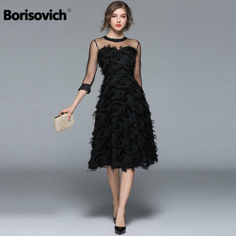0bad82374e Compre Borisovich Mujeres De Lujo Vestidos De Fiesta De Noche Nueva Llegada  2017 De Moda De Primavera Borla O Cuello Elegante Negro Vestido De Mujer  M070 ...