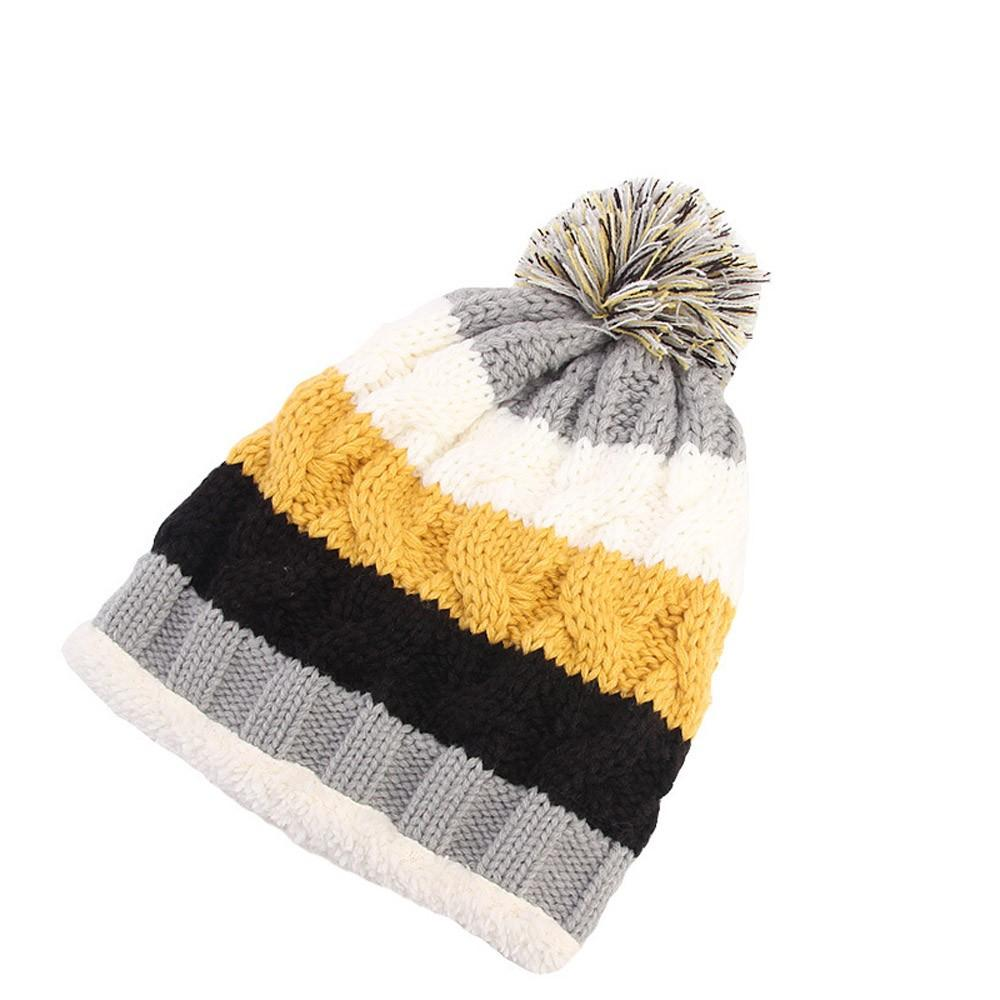 87b10cc28ad New Arrival Women Knit Slouchy Beanie Chunky Baggy Hat Pompom Winter Soft  Warm Ski Cap Rainbow Stripe Delicate Gift Beanie Hat Sun Hats From  Clintcapela