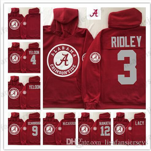new style 9b354 c2673 Mens Crimson Alabama Crimson Tide Sweatshirt Red Lacy Hurts Cooper Namath  Personalized Stitched College Football Pullover Hoodie