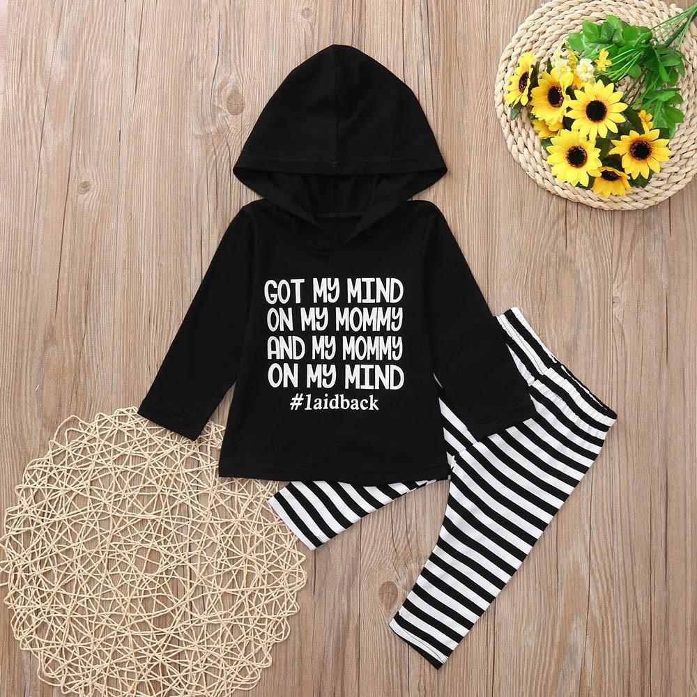 34bf53c0bdb30 good quality winter clothes for baby 2Pcs Infant Baby Boy Letter Tops  Hooded Stripe Pants Outfits Children clothing set roupas menino