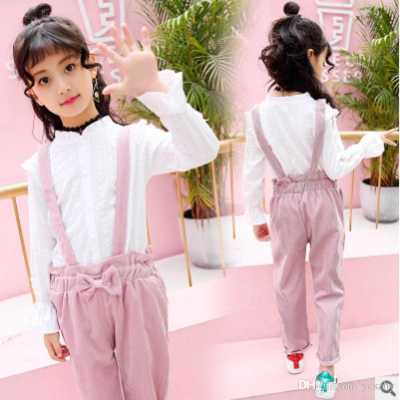 415365f8c246e Girls Shirt Overalls Clothing Set 2019 New Spring/Autumn Kids Clothes Sets  Children s Shirt Overalls Pants Suits Size3-14 ly231
