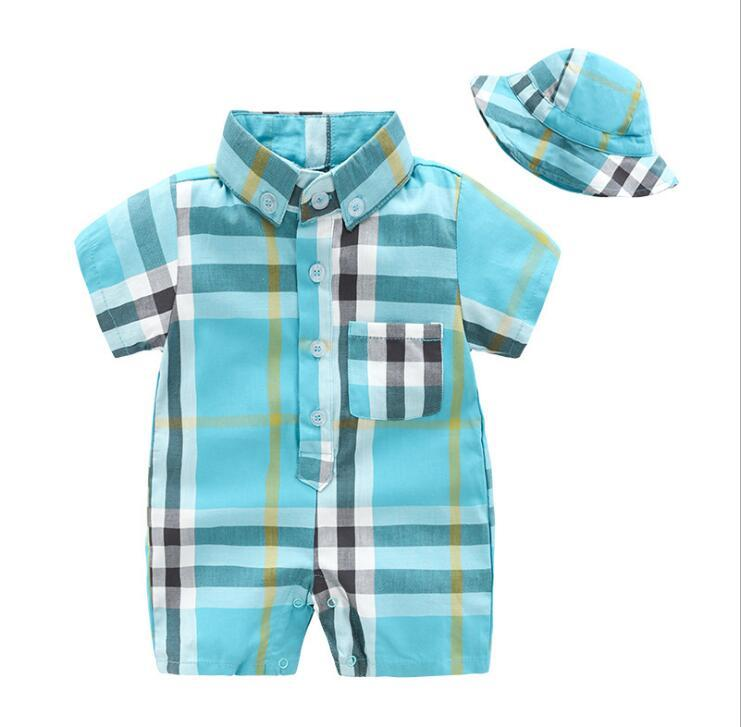 42a791319 2019 Autumn Style Baby Boy Girl Rompers Long Sleeve Plaid Infant ...
