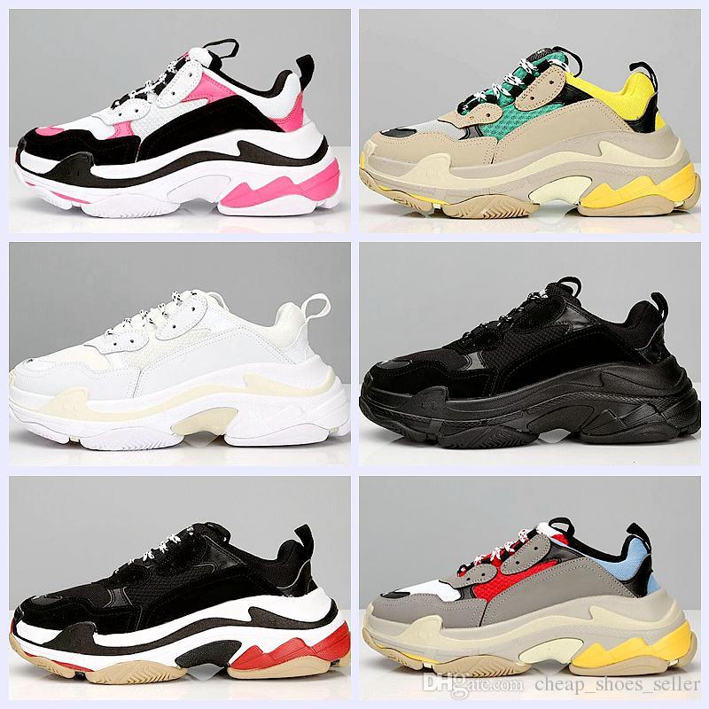 b052d2b1efd9d Compre 2019 Nova Moda Paris 17FW Triplo S Sneaker Triplo S Casuais Pai  Sapatos Para Mulheres Dos Homens Bege Esportes Preto Triplo S Tênis De  Corrida 36 45 ...